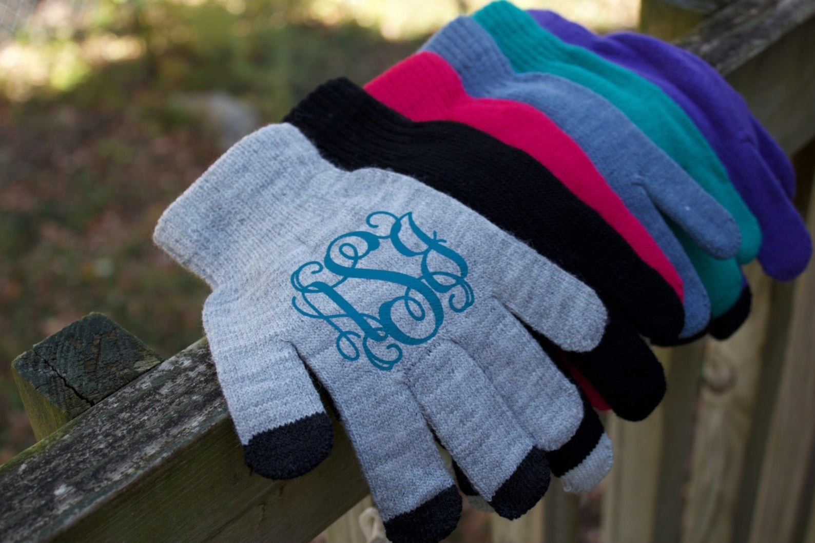 various colors of monogrammed texting gloves
