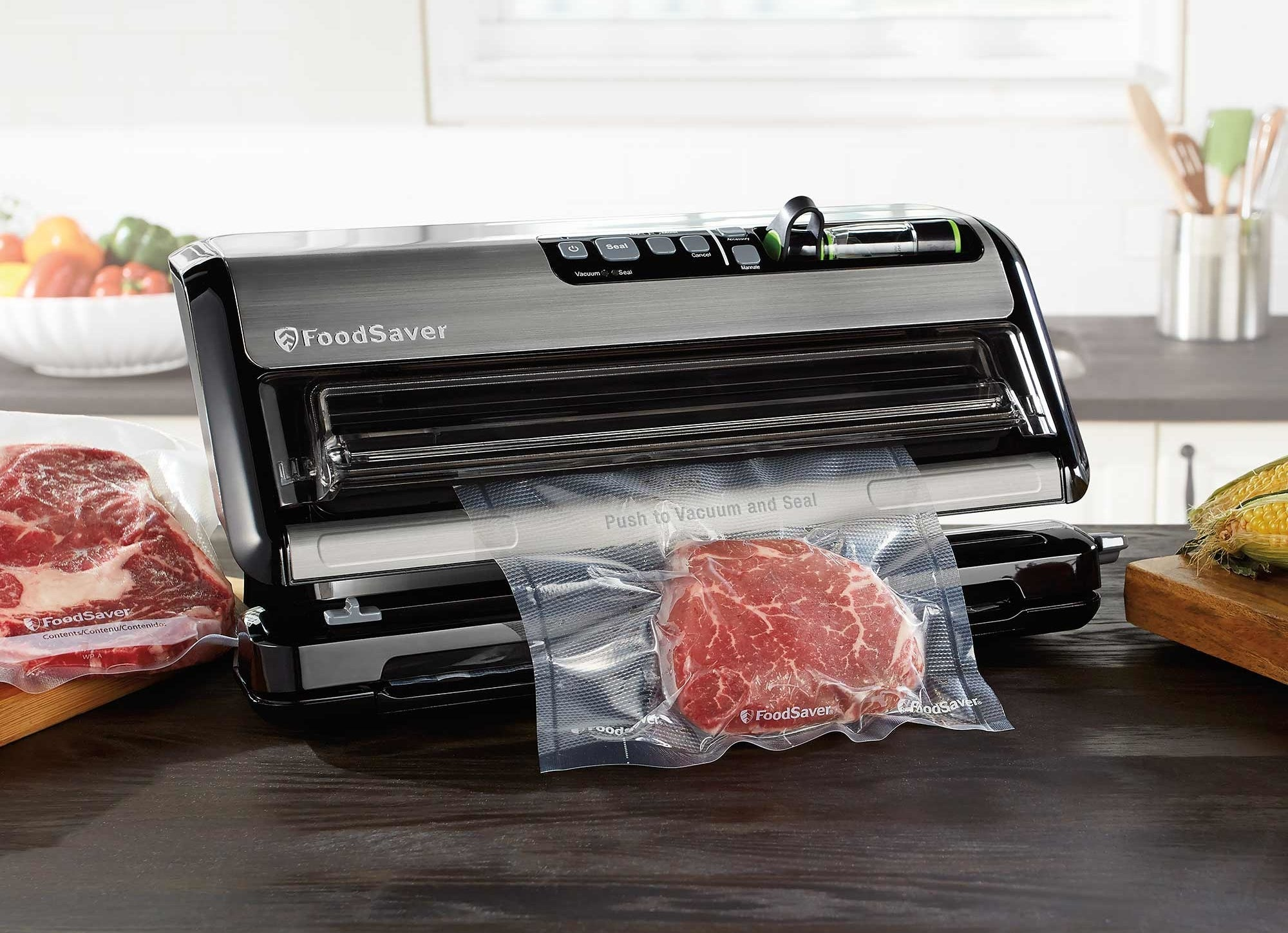 The vacuum sealer, sealing up some meat
