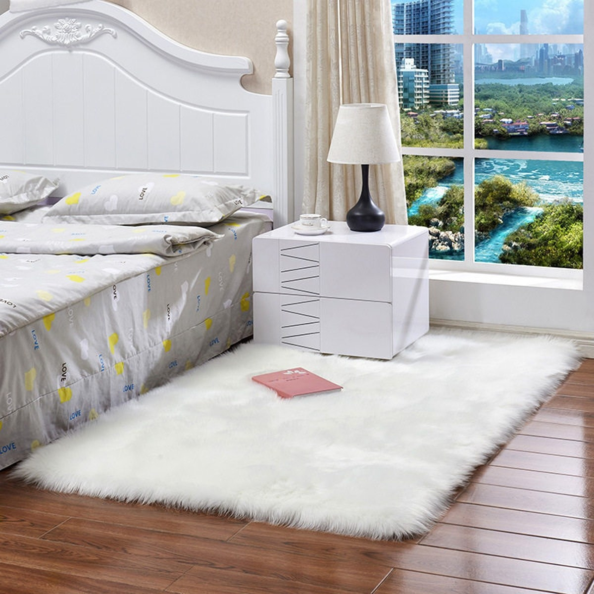 The rug placed beside the bed