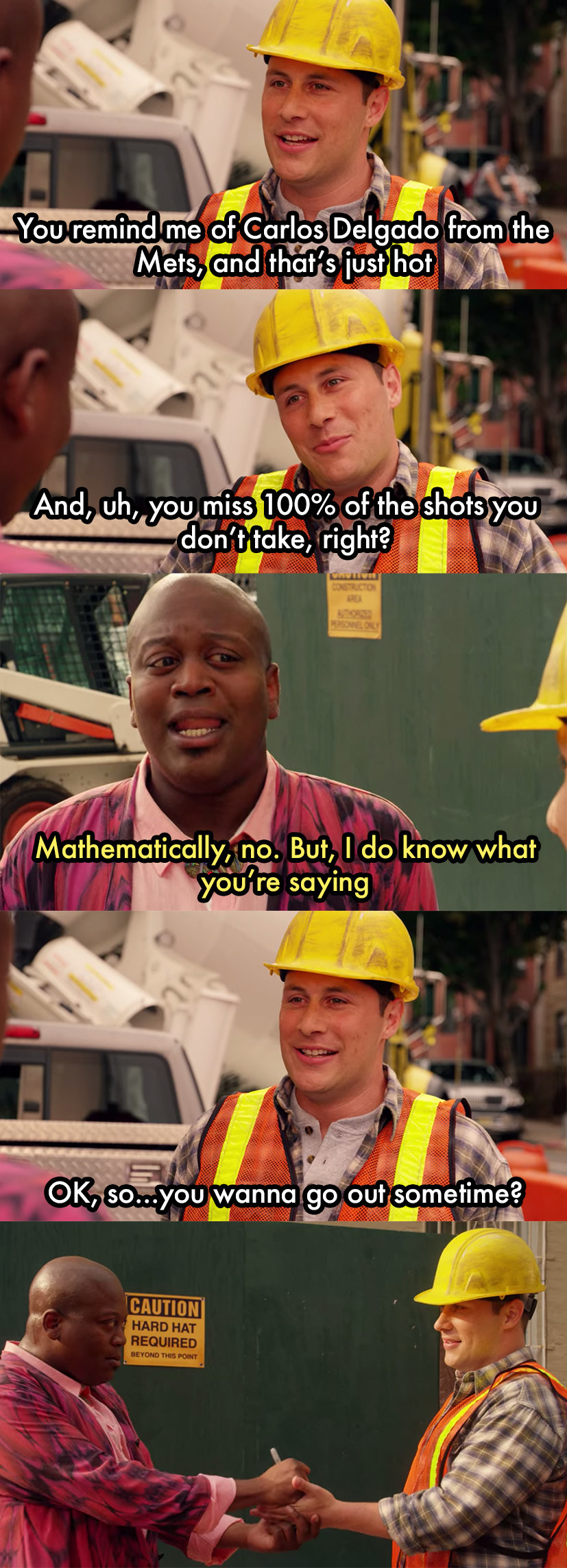 """Mikey Politano from """"Unbreakable Kimmy Schmidt"""" asking out Titus Andromedon by saying """"You remind me of Carlos Delgado from the Mets, and that's just hot."""" Titus ends up giving Mikey his number"""