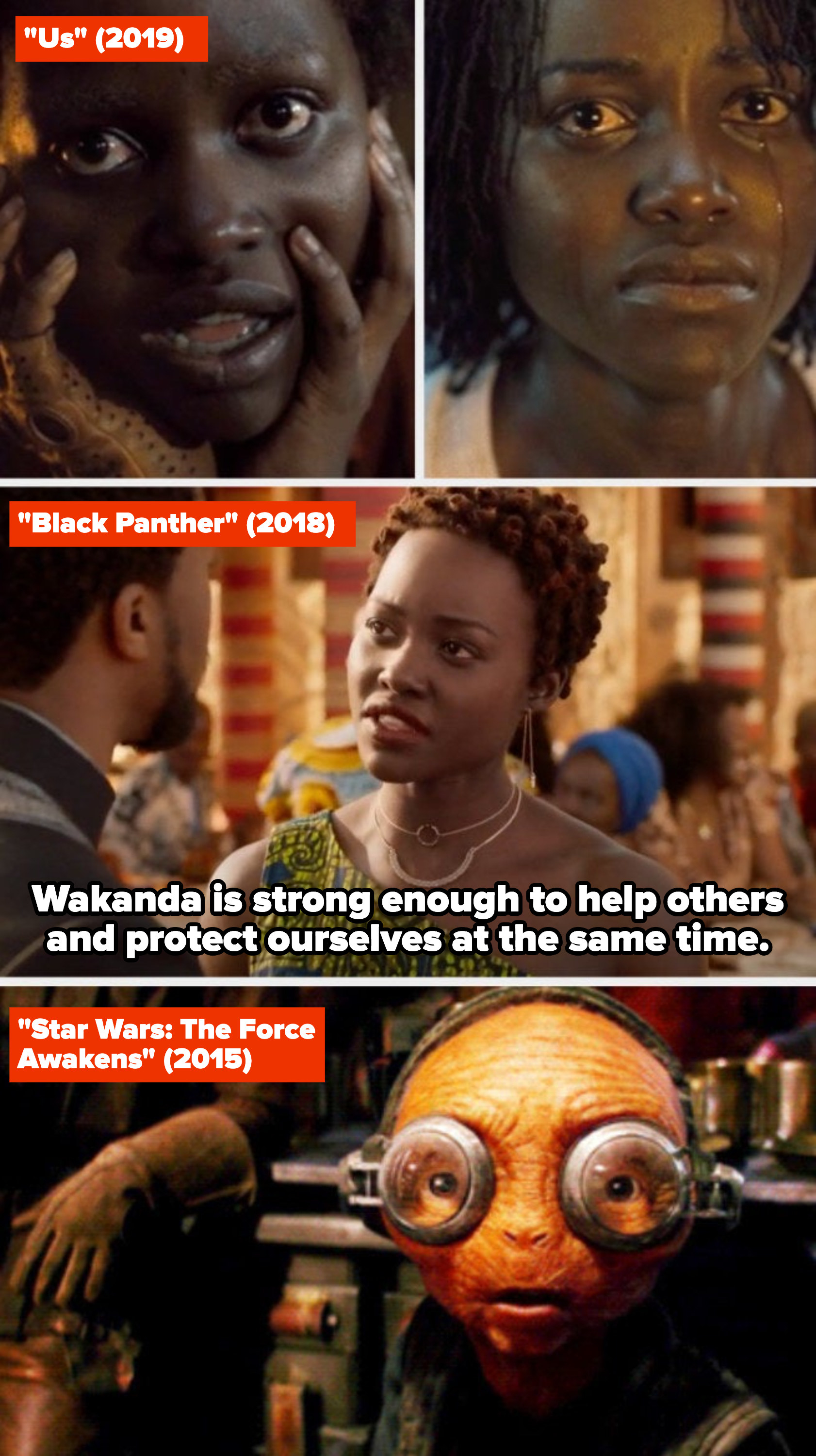 """Lupita Nyong'o in """"Us,"""" """"Black Panther,"""" and """"Star Wars: The Force Awakens"""""""