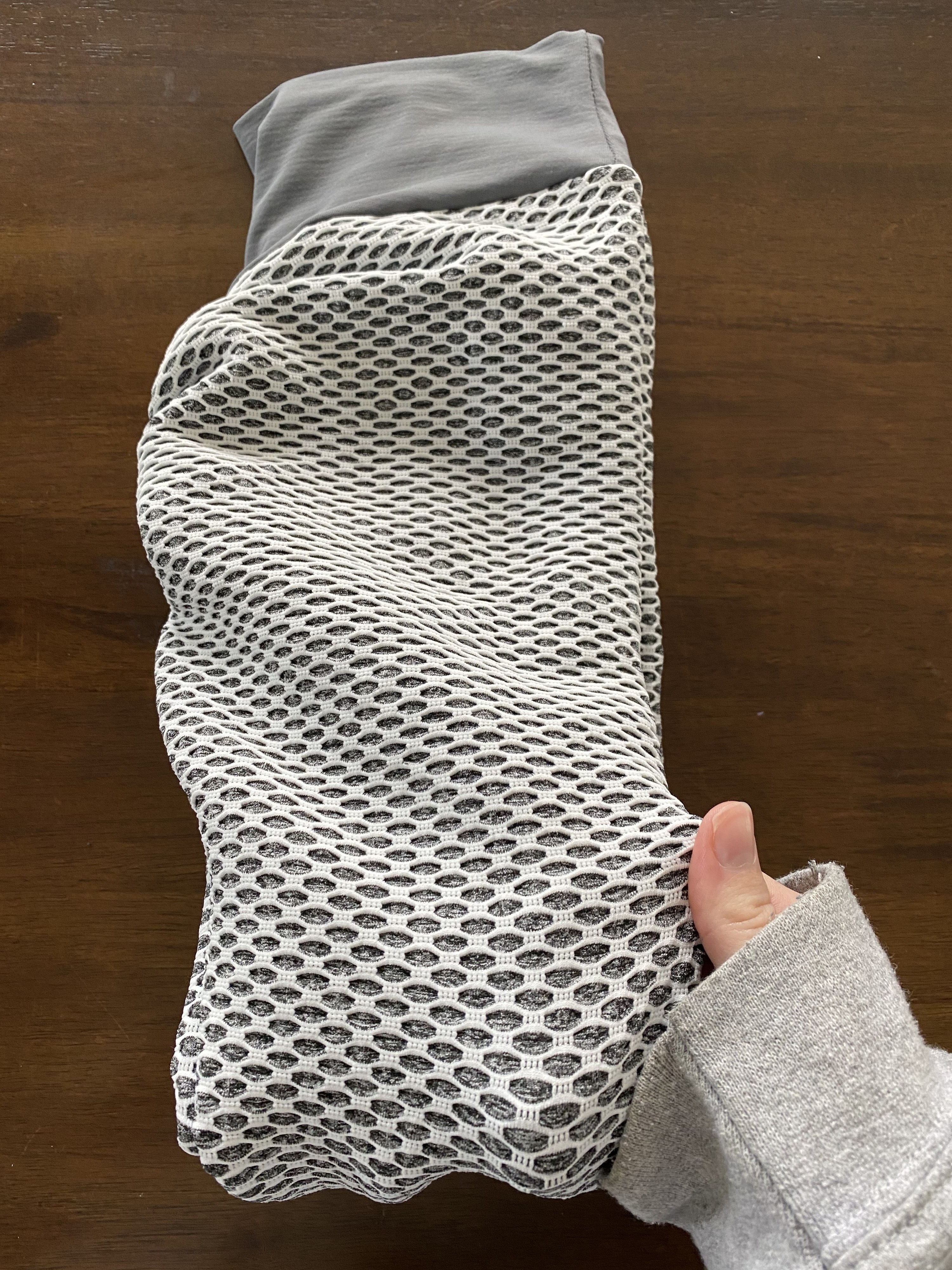 A close-up of the leggings, and the netted material