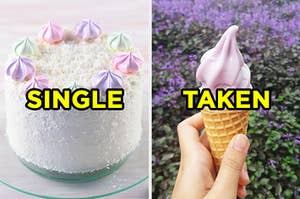 "On the left, a coconut cake topped with meringues labeled ""single,"" and on the right, someone holding up a soft serve ice cream cone labeled ""taken"""