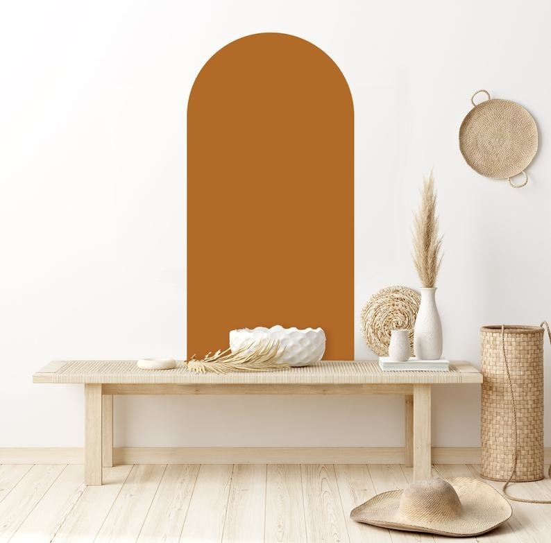 The arch decal in rust orange