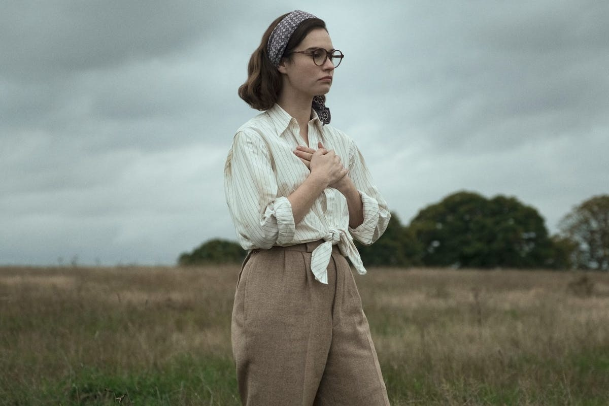 Still from The Dig: Peggy in field