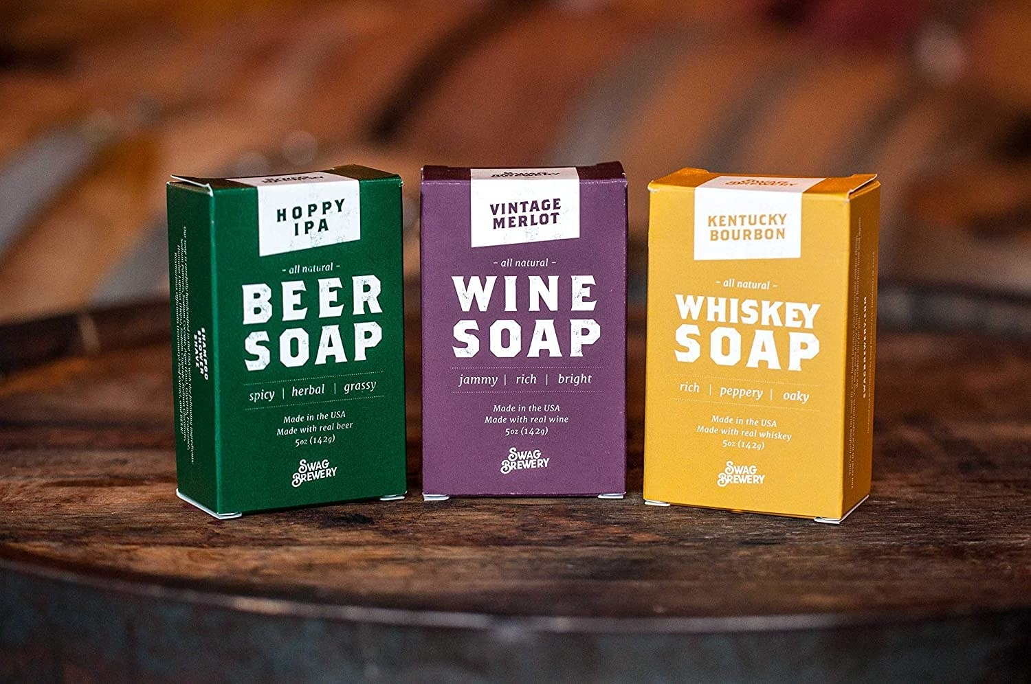 three soap boxes of soap in beer, wine, and whisky scents