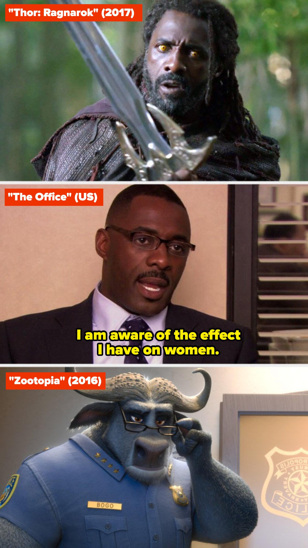 "Idris Elba in ""Thor: Ragnarok,"" ""The Office,"" and ""Zootopia"""
