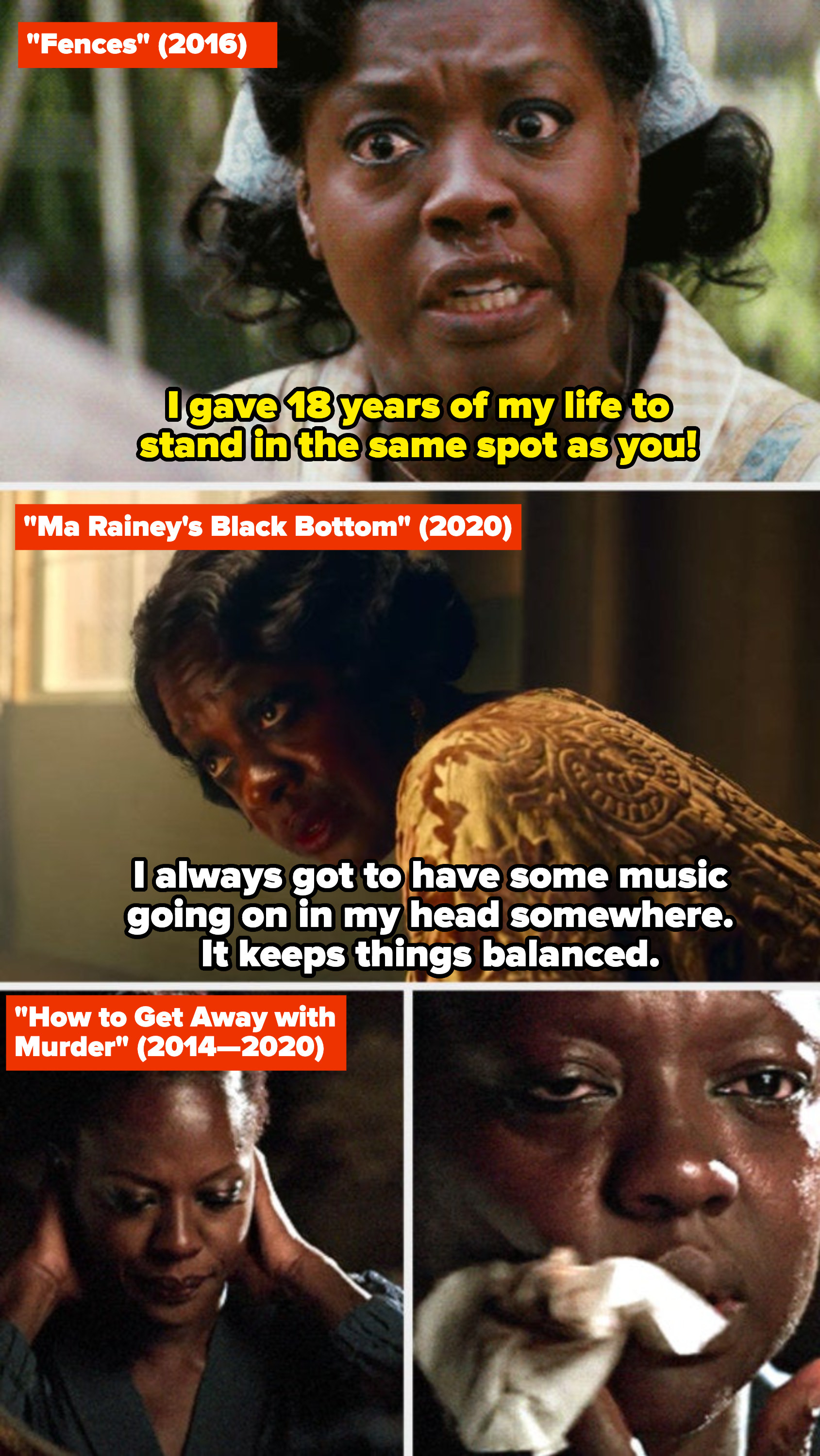"""Viola Davis in """"Fences,"""" """"Ma Rainey's Black Bottom,"""" and """"How to Get Away with Murder"""""""