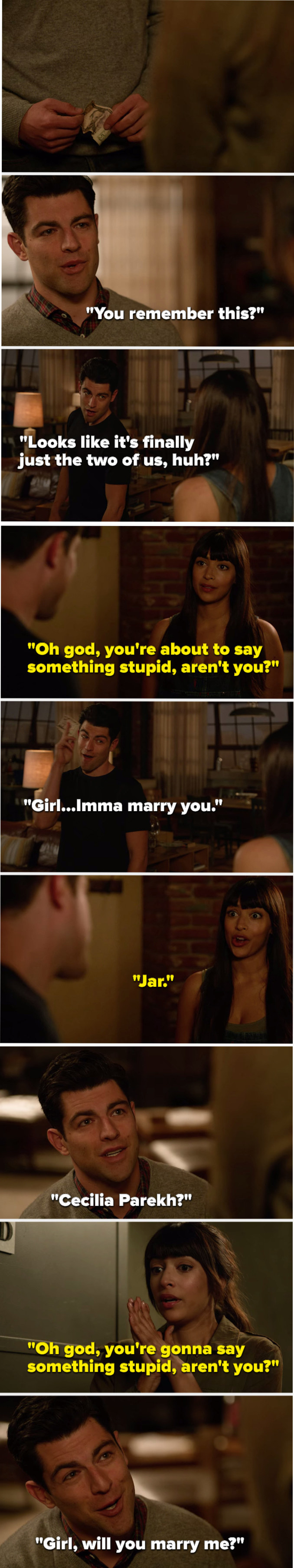 """Flashback Cece says, """"You're about to say something stupid,"""" Schmidt holds a fiver and says, """"Girl Imma marry you,"""" Cece says, """"Jar,"""" present Cece says, """"You're gonna say something stupid,"""" and Schmidt says, """"Girl, will you marry me"""""""