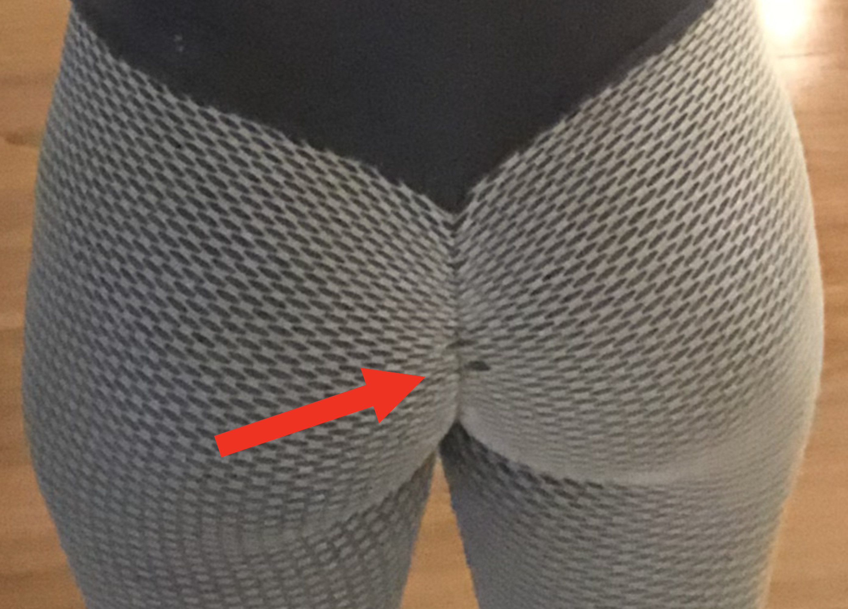 A close up of stretched fabric in the buttcrack area.