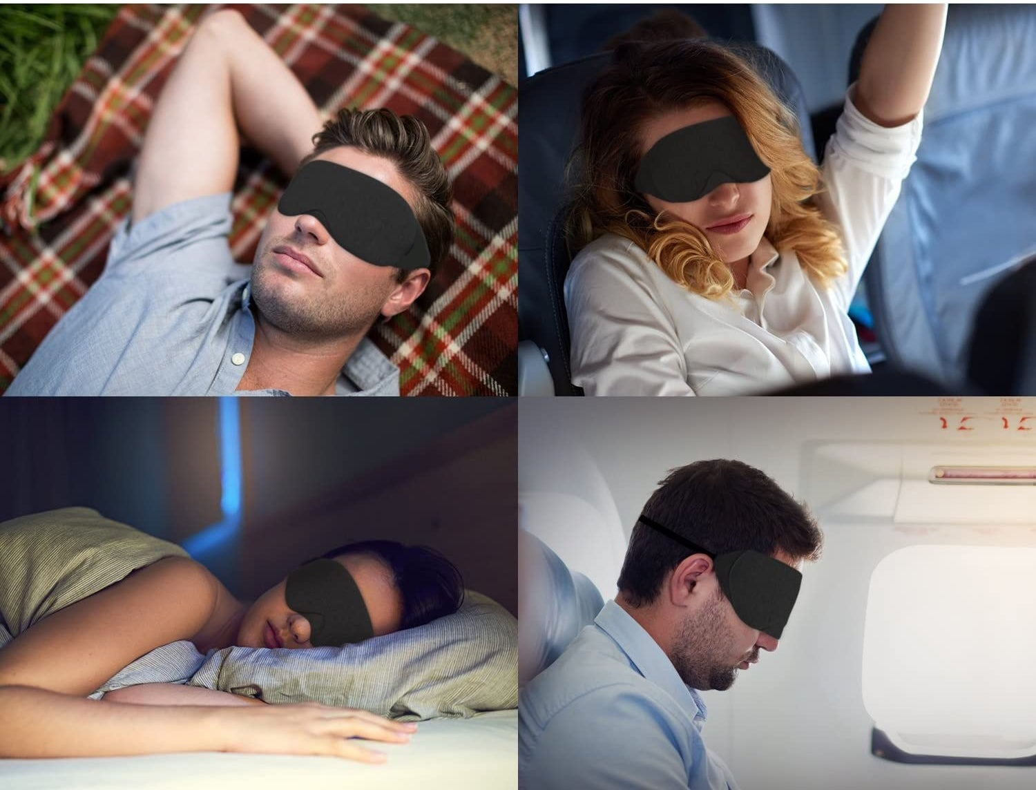 The mask worn by four different people in different sleeping situations