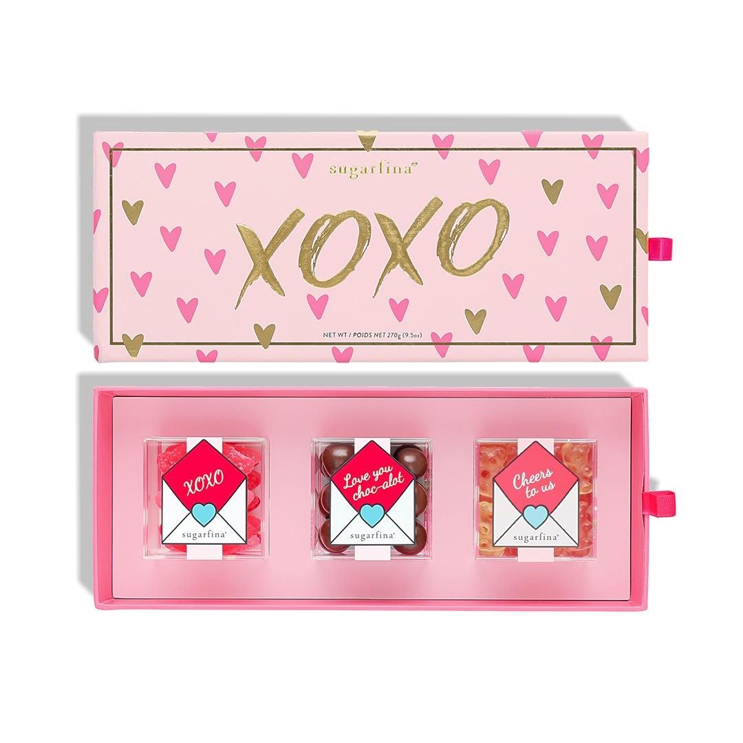 Sugar Lips, Dark Chocolate Sea Salt Caramels, and Champagne Bears in a pink XOXO gift box