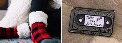 A pair of sherpa-lined socks / a VHS that says