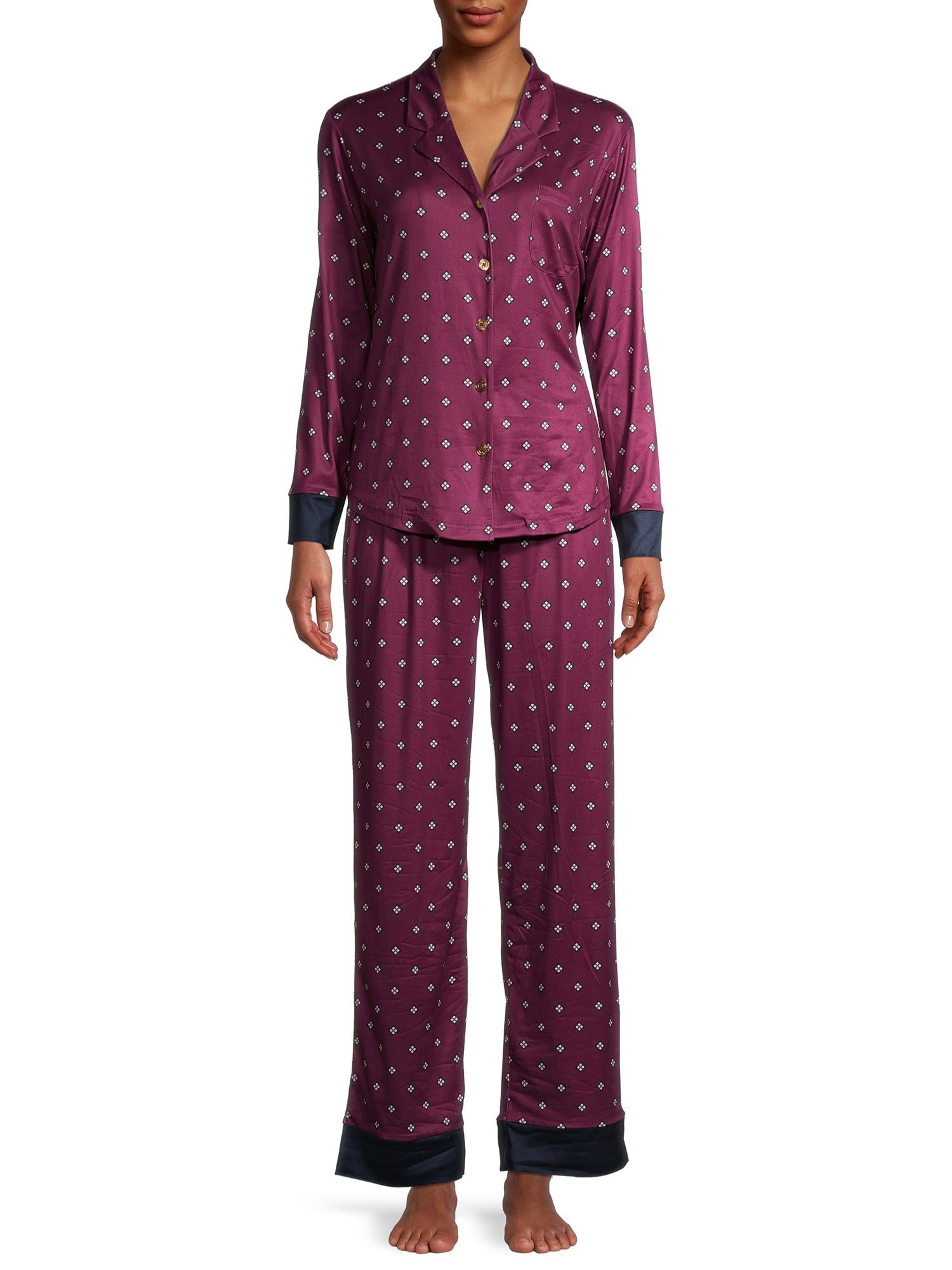 The pajama set worn by a model