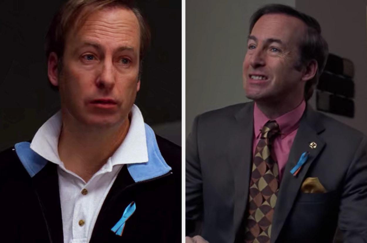 Saul wearing a commemorative ribbon