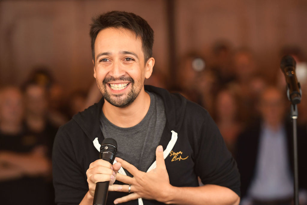 Lin-Manuel Miranda speaks onstage during the #Ham4Ham at the Pantages Theatre