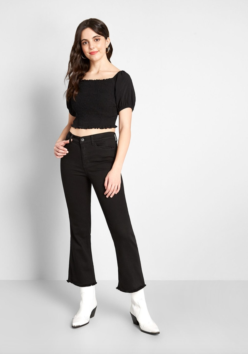 Model wearing the flared jeans