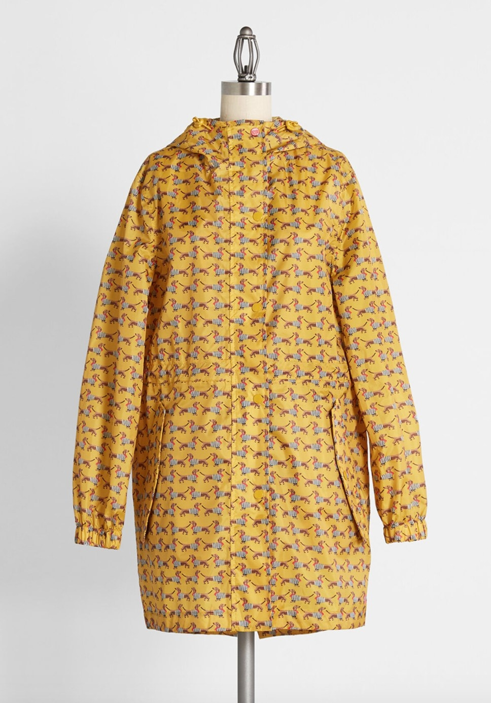 The dachshund dog printed yellow rain jacket