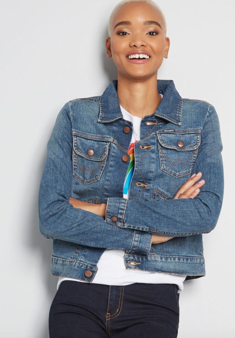 Model wearing the denim jacket