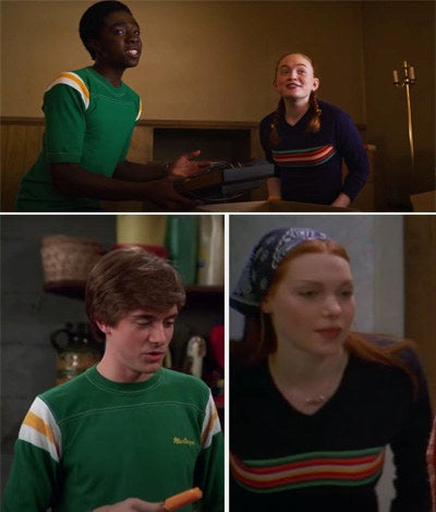 Lucas and Max wearing the same shirts as Donna and Eric