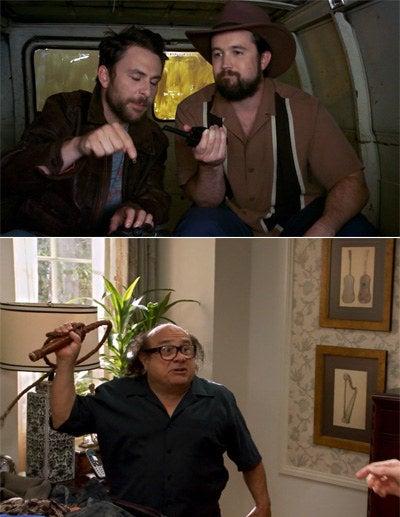Charlie wearing an Indiana Jones jacket, Mac wearing an India Jones hat, and Frank holding an Indiana Jones whip
