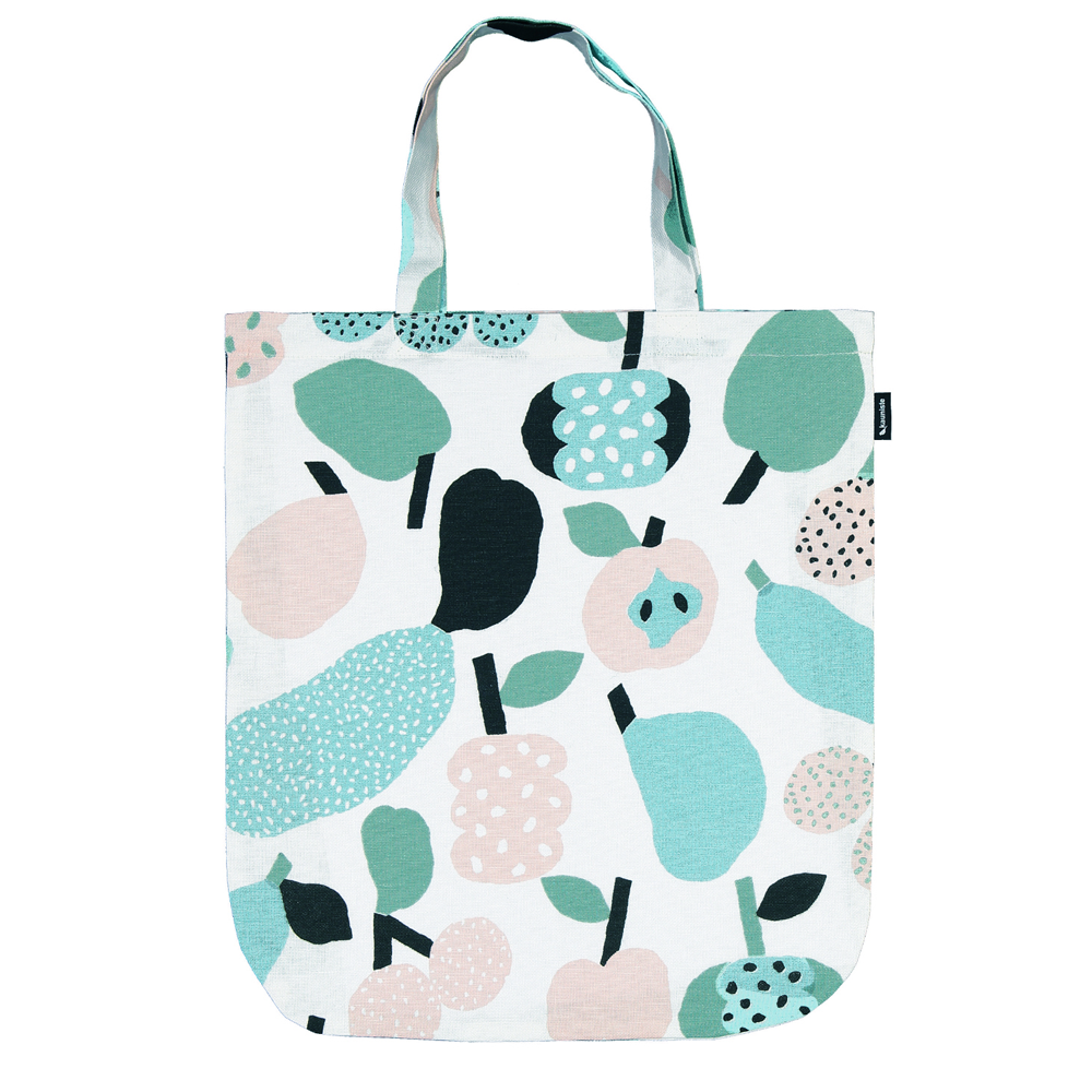 The tote bag covered in cute fruit illustrations