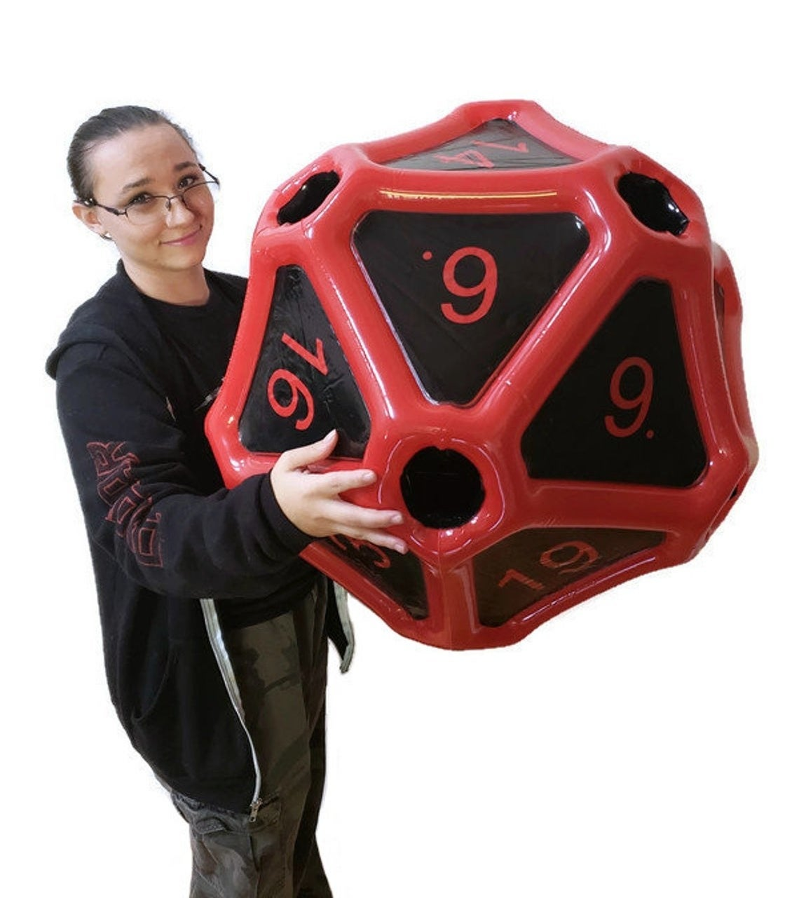 model holds huge inflatable die
