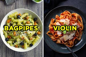 "On the left, a bowl of ziti with pesto topped with squash, olives, and cheese labeled ""bagpipes,"" and on the right, some tagliatelle with tomato sauce and cheese labeled ""violin"""