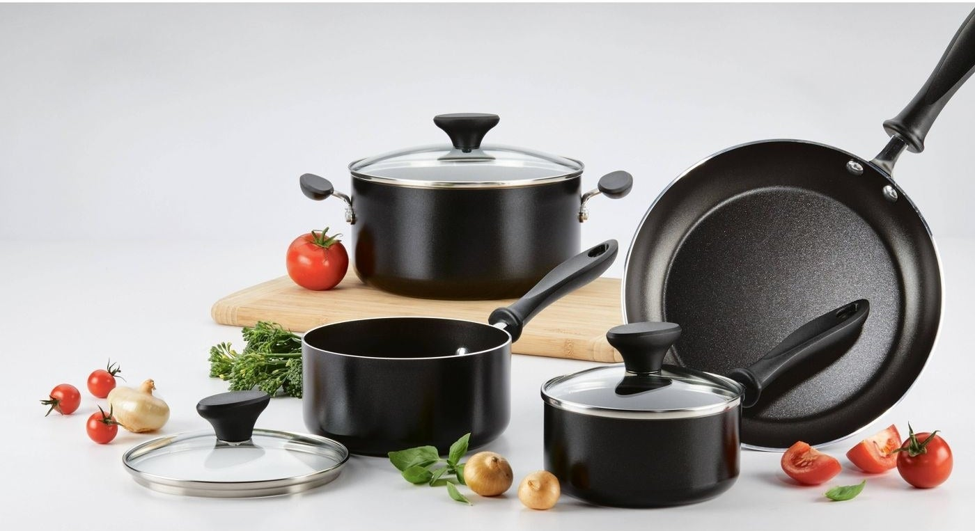 A new set of pots with veggies