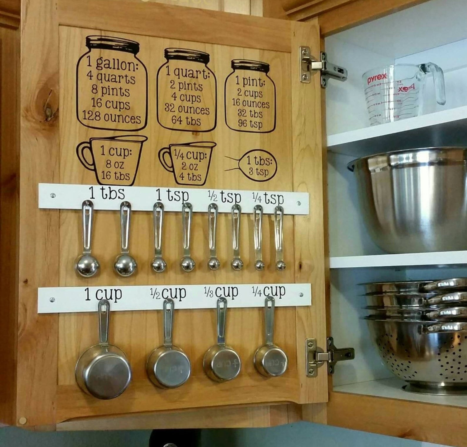 Decals hanging inside of a kitchen cabinet