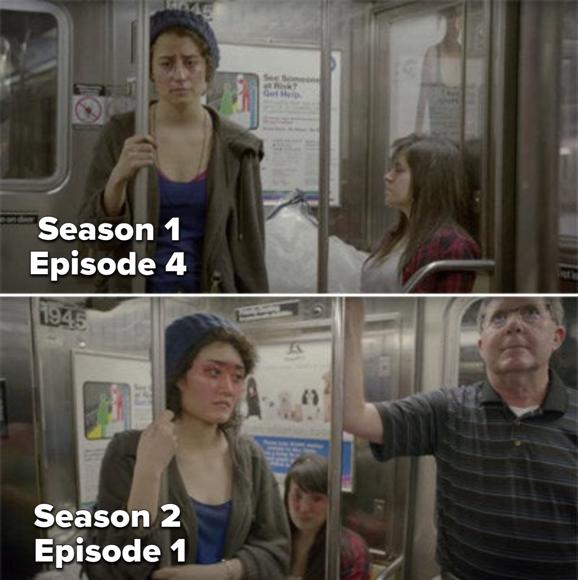 Abbi and Ilana riding the subway in Season 1 and Two girls wearing the exact same thing in Season 2 on the subway