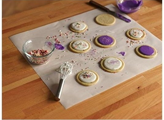 A baking sheet used to decorate cookies