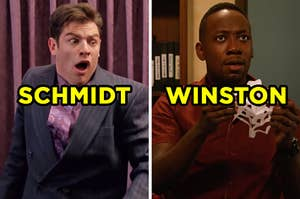 """On the left, Schmidt from """"New Girl"""" opening his eyes wide and screaming, and on the right, Winston from """"New Girl"""" holding a paper snowflake"""