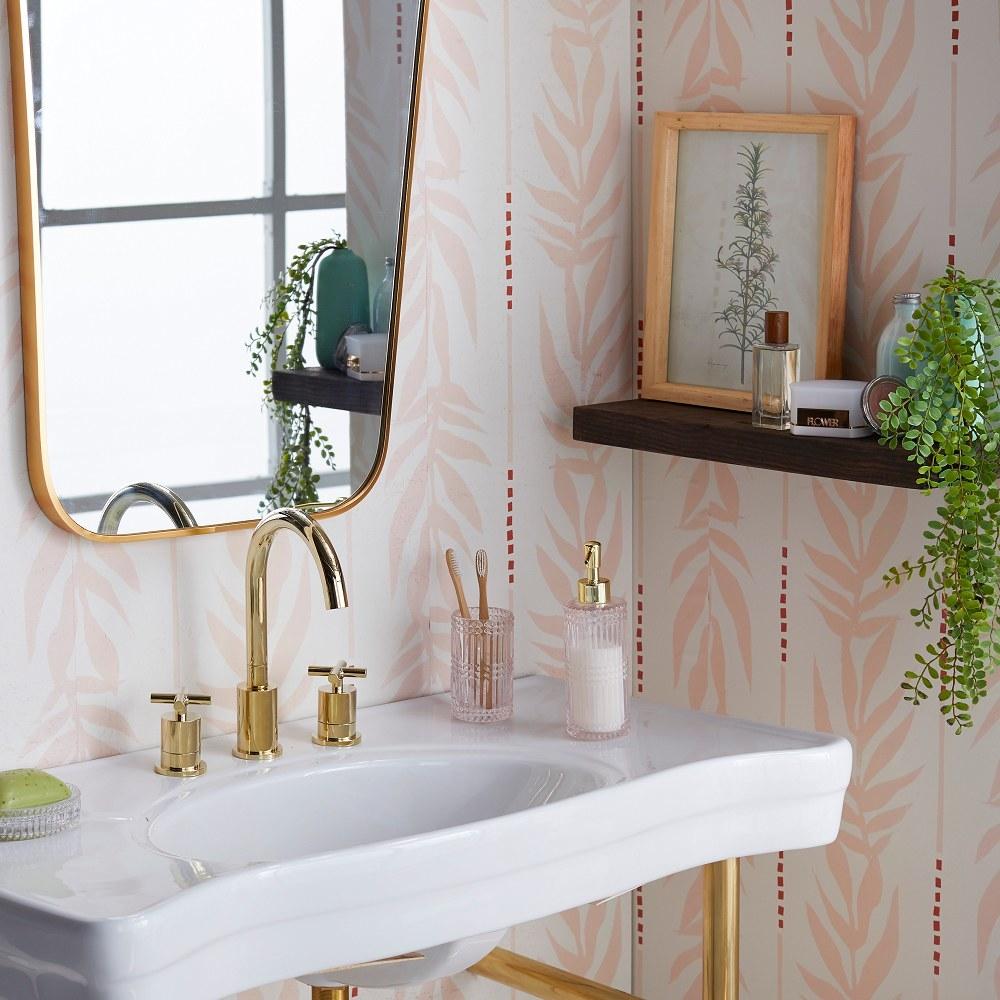 The wallpaper cover the bathroom walls