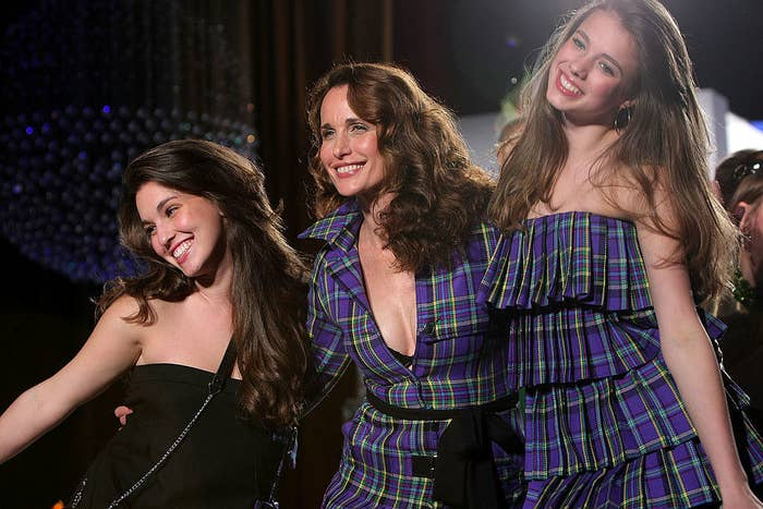 """Andie MacDowell (center) wears a matching outfit with her daughter Margaret Qualley (right) at the """"Dressed To Kilt"""" charity fashion show in New York City in March 2009"""