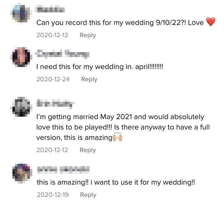 TikTok users asking Stephen if they can play his song at their wedding