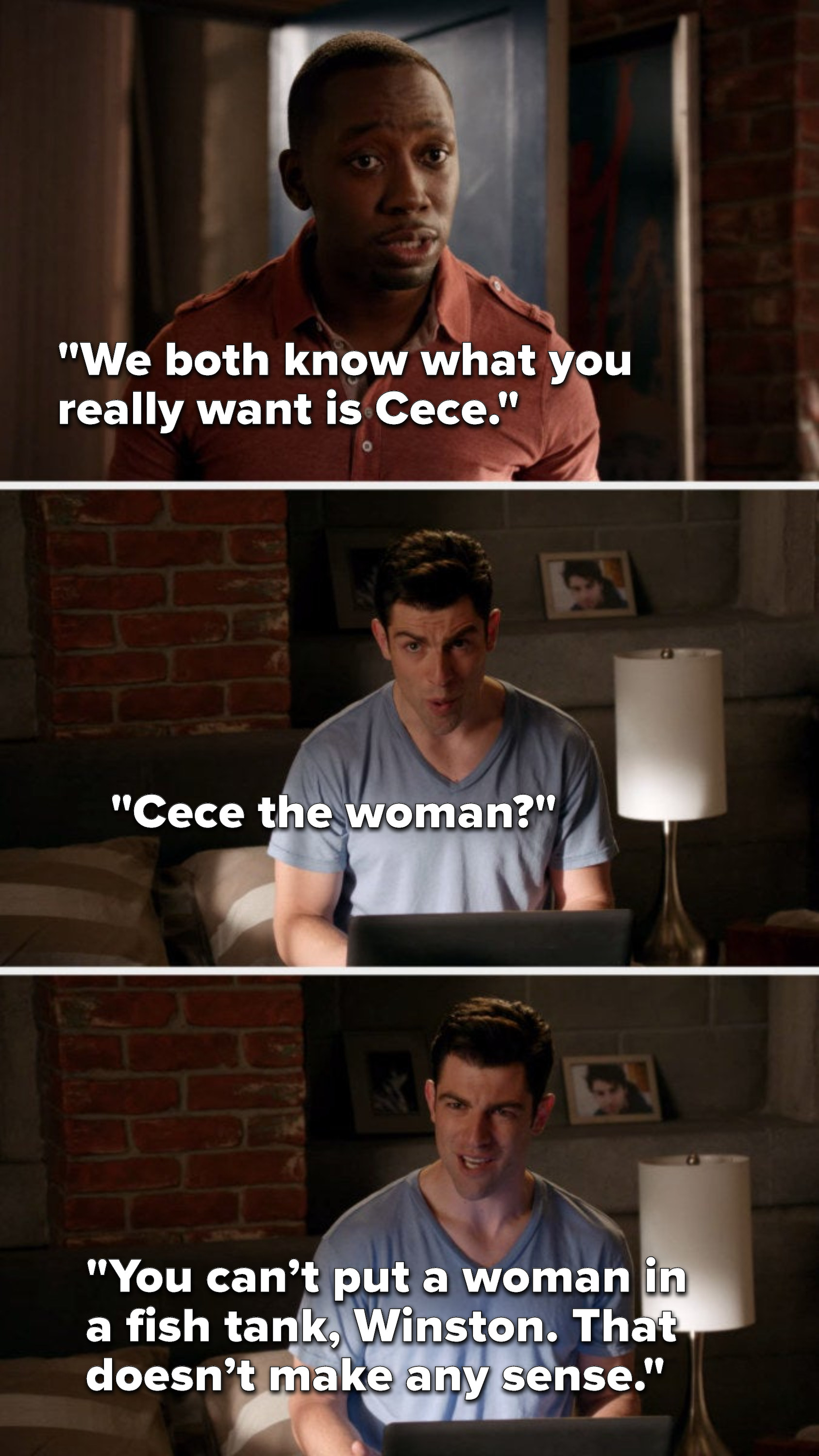 """Winston says, """"We both know what you really want is Cece,"""" and Schmidt says, """"Cece the woman, you can't put a woman in a fish tank, Winston, that doesn't make any sense"""""""