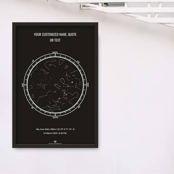 Personalised star map against a white background