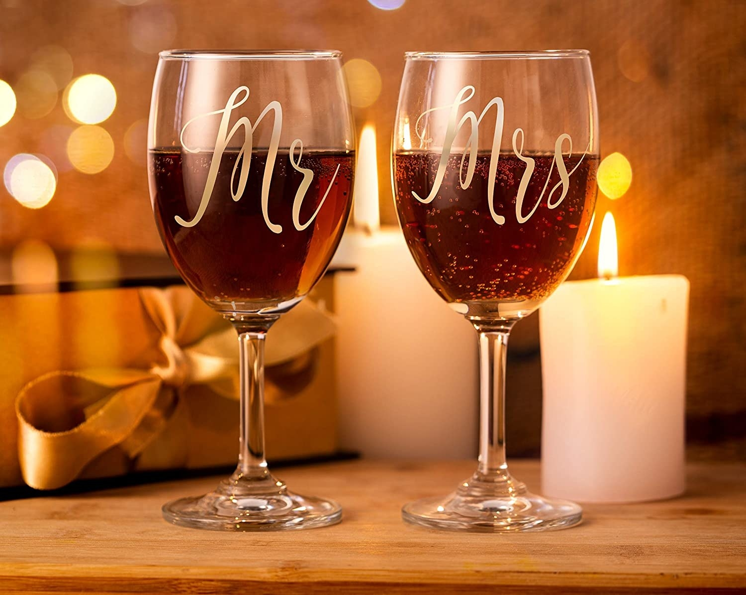 Two wine glasses with Mr and Mrs engraved on them