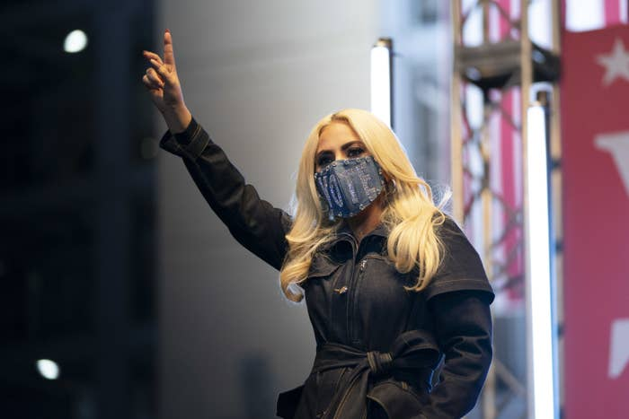 Lady Gaga speaking at a rally for President Joe Biden in Pittsburgh, Pennsylvania in November