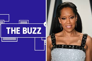 Splitscreen of purple graphic with THE BUZZ in white letters on the left side and a photo of Regina King on the right side (CREDIT: GETTY)