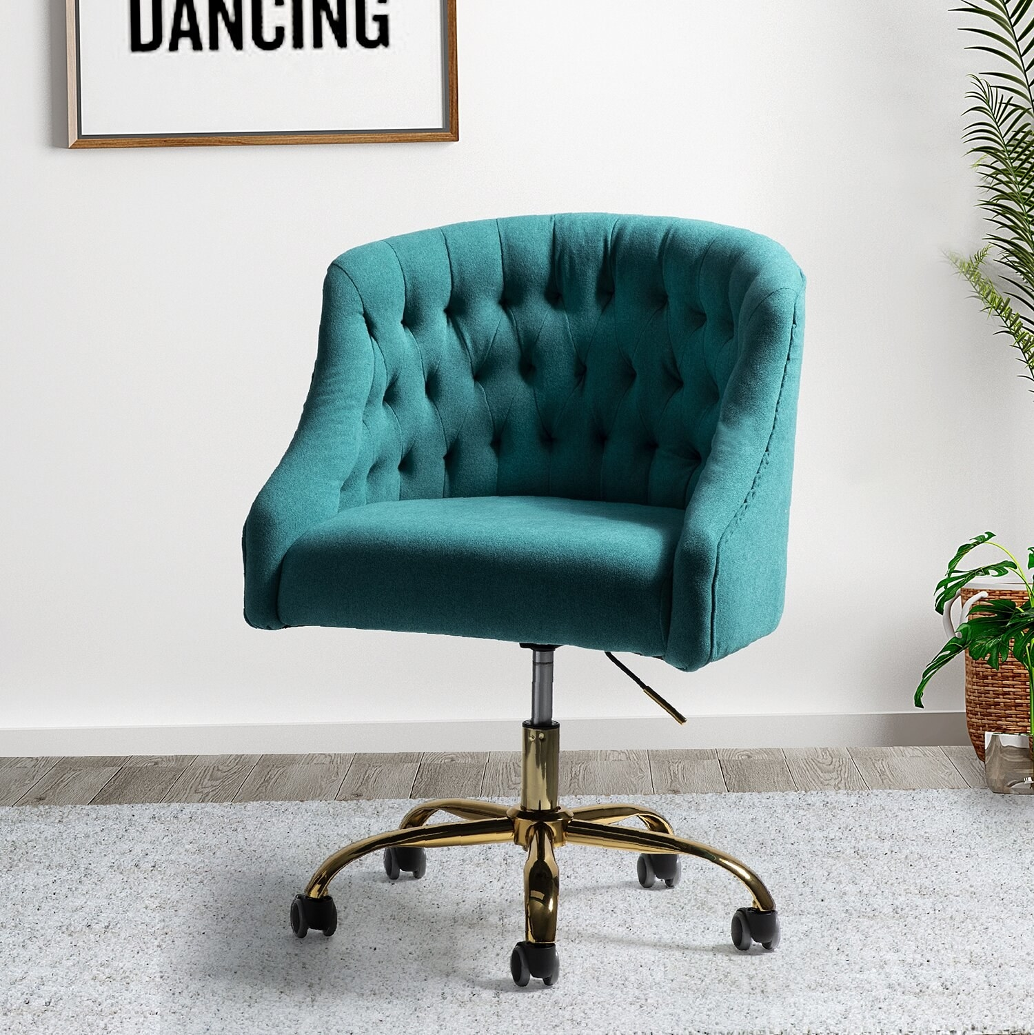 turquoise chair in an empty room