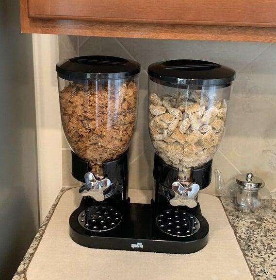 black cereal dispenser with cereal inside
