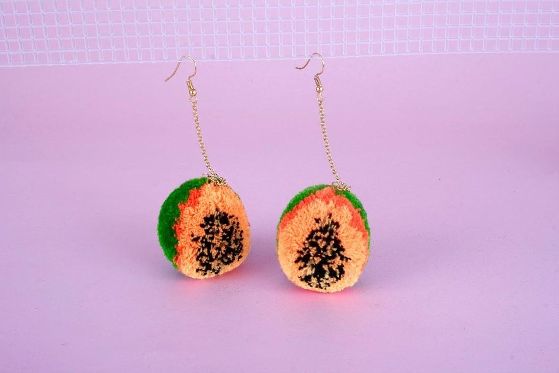 dangling fuzzy papaya earrings