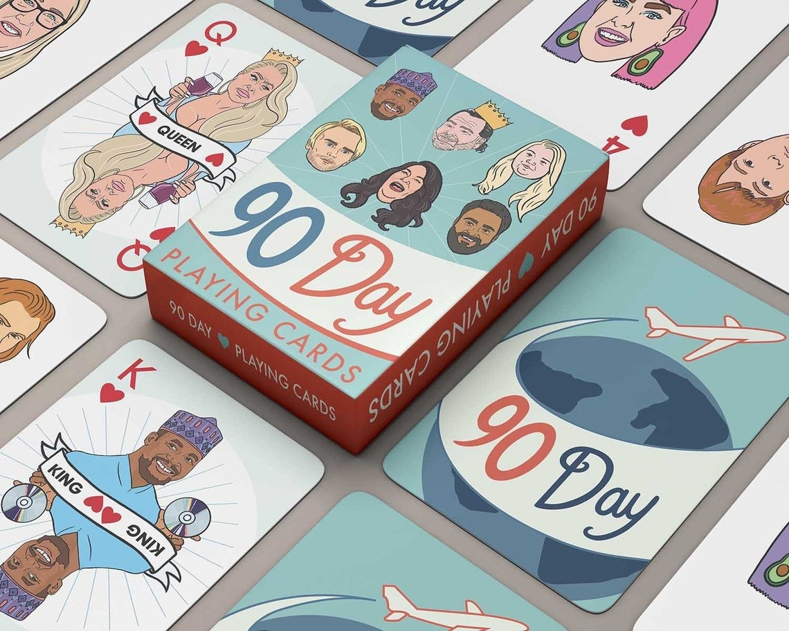 playing cards with illustrated characters