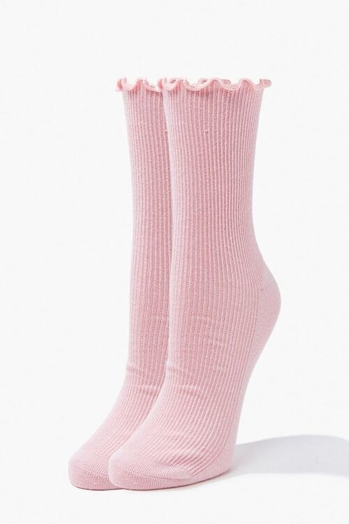 Pink lettuce edge socks