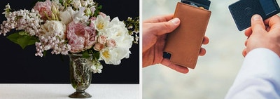 (left) Bouquet of flowers (right) leather wallet