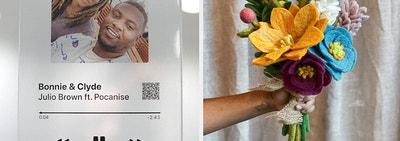 (left) Personalized music plaque (right) Felt flower bouquet
