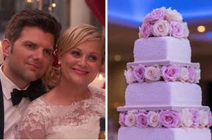 """Amy Poehler as Leslie Knope and Adam Scott as Ben Wyatt in the show """"Parks and Recreation"""" and a four tier wedding cake with flowers."""
