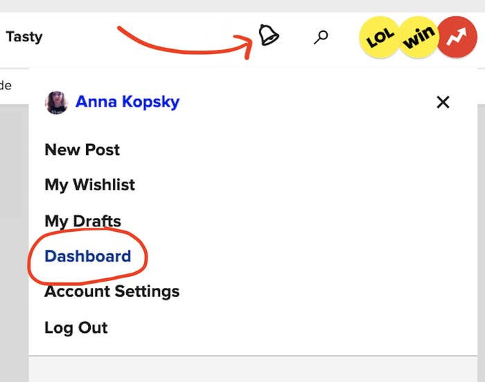 """screenshot of buzzfeed's homepage with an arrow pointed to an animated bell. there's a list of options and the word """"dashboard"""" is circled"""